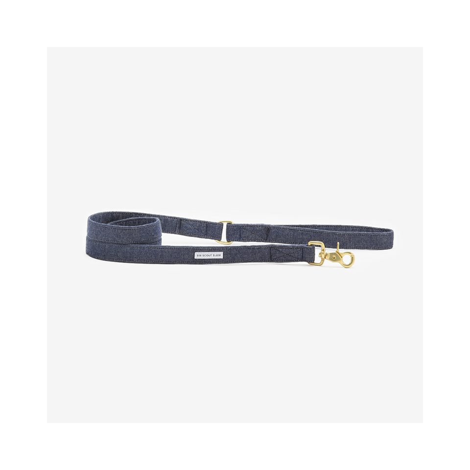 "SEE SCOUT SLEEP Standard Leash 1"" The Scot - Denim 