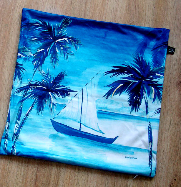 Tropical Boat Cushion Cover 45cm