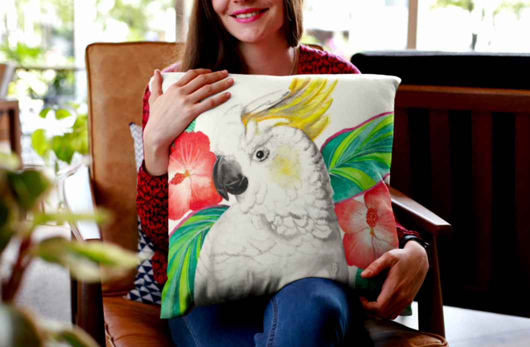 Cockatoo with Hibiscus Cushion Cover 45cm