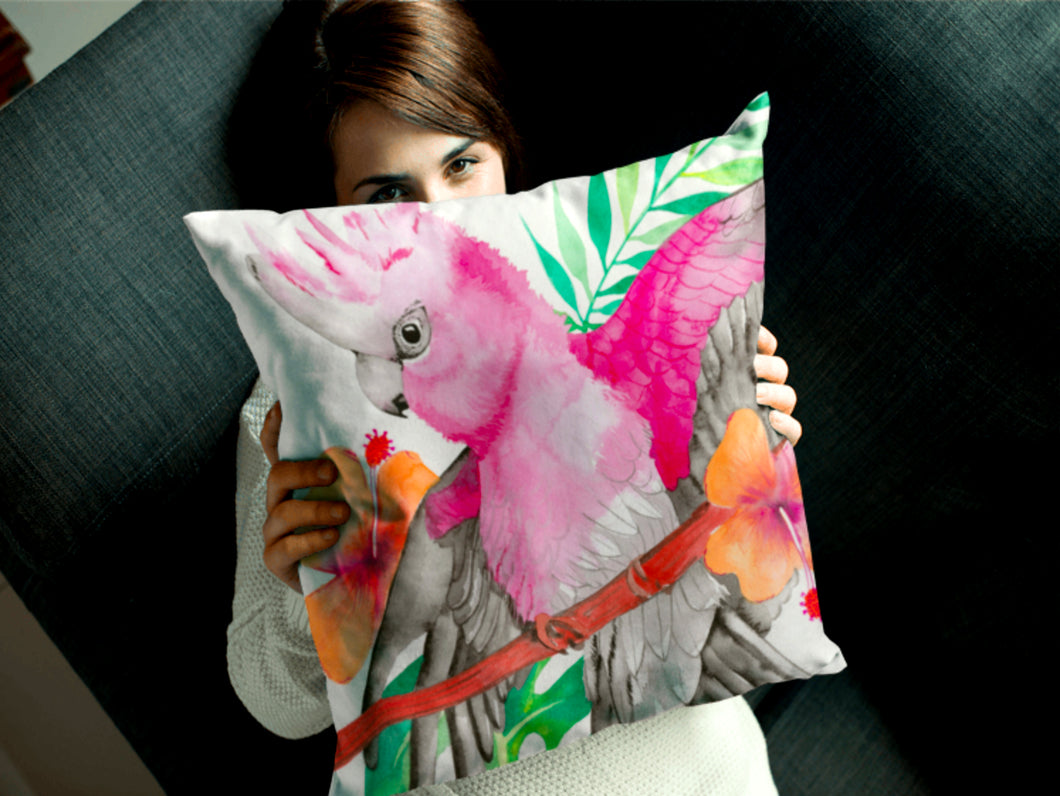 Pink and Grey Galah Cushion Cover 45cm