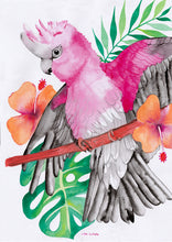Load image into Gallery viewer, Pink and Grey Galah Tea Towel