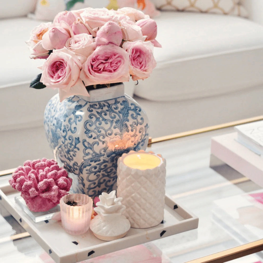 ceramic gold pineapple candle with decorative lid