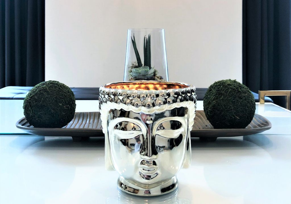 Thompson Ferrier Silver Buddha Head Fragranced Candle Home Decor