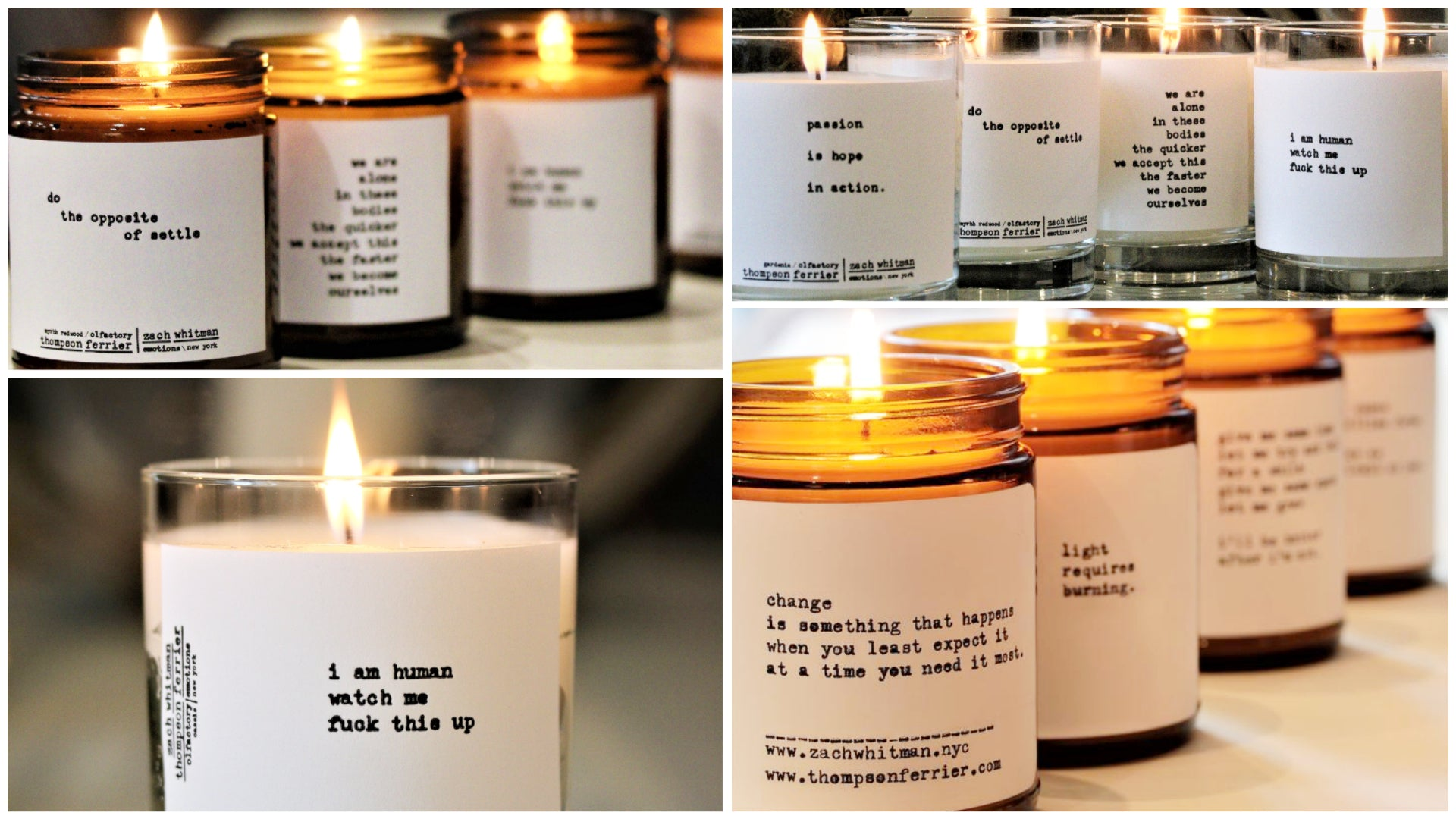 glass scented candles with poems hand typed on them