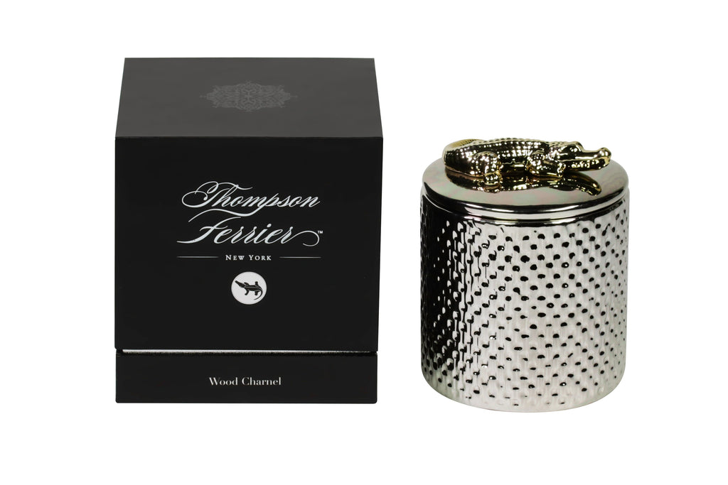 Silver ceramic lidded candle with croco decorative piece on lid
