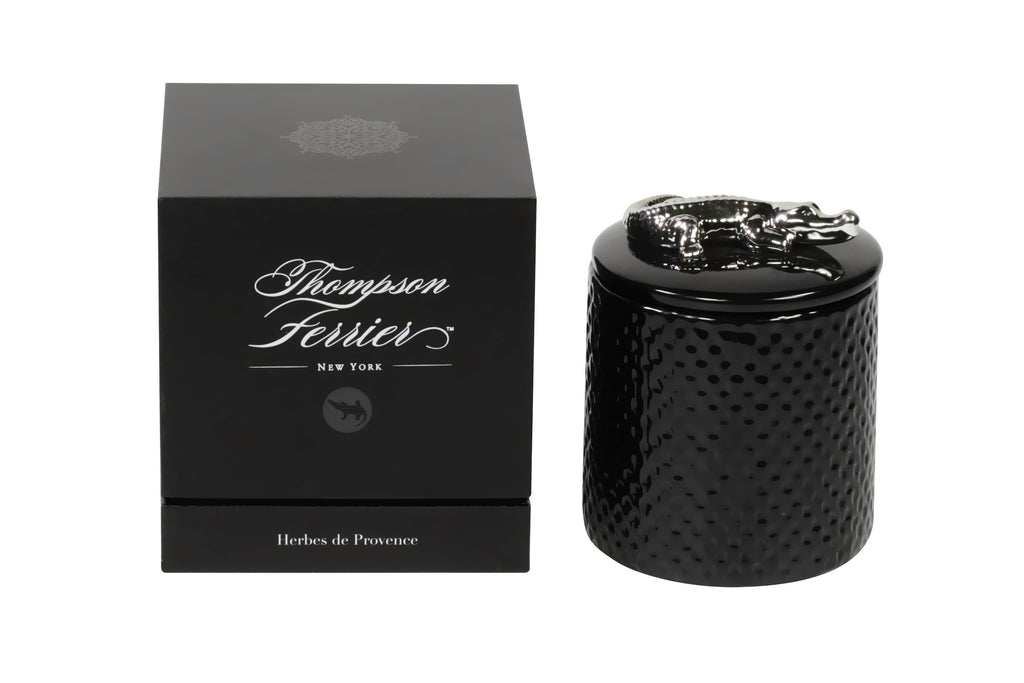 Thompson Ferrier black croco scented candle with decorative lid