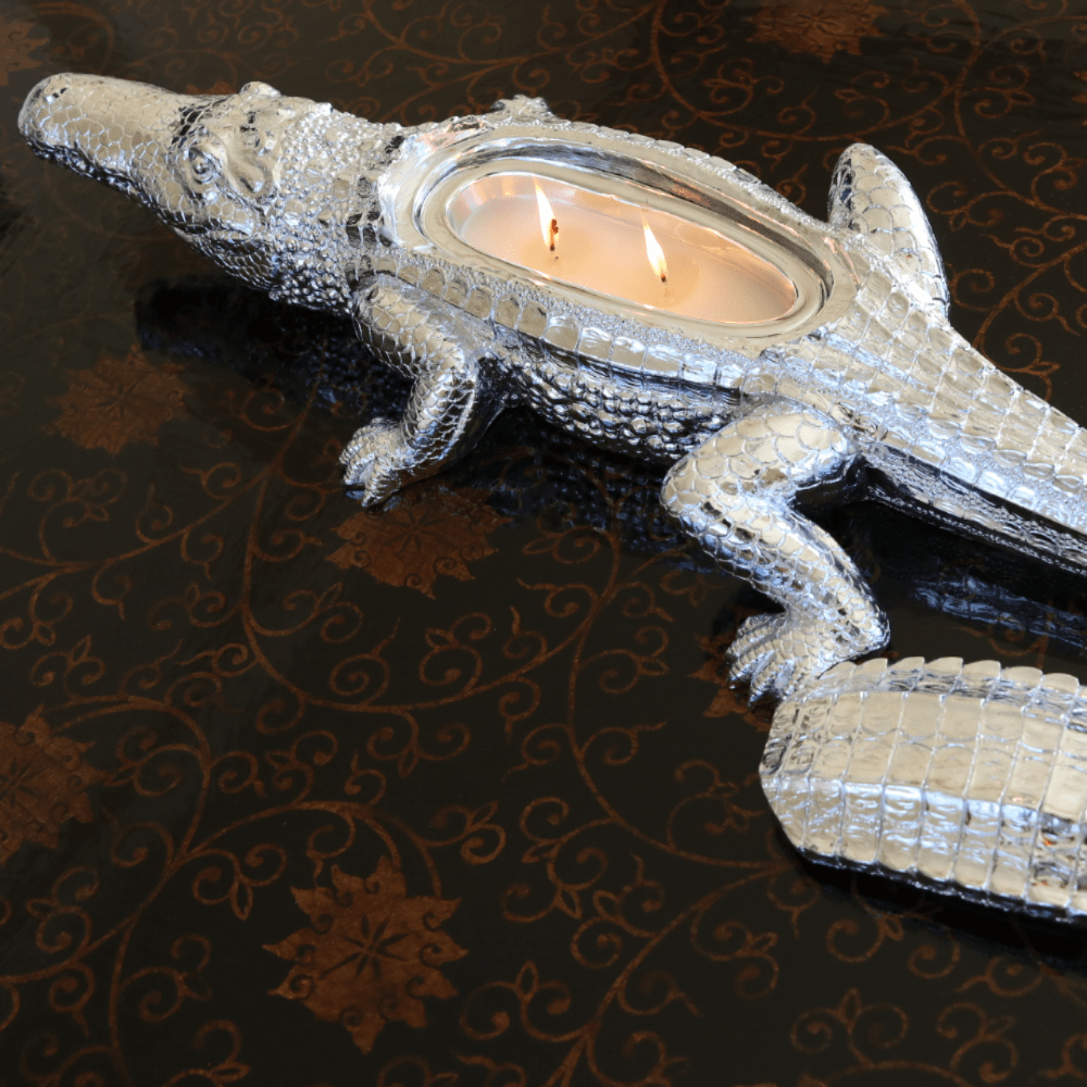 Silver Grand Alligator Candle - Thompson Ferrier