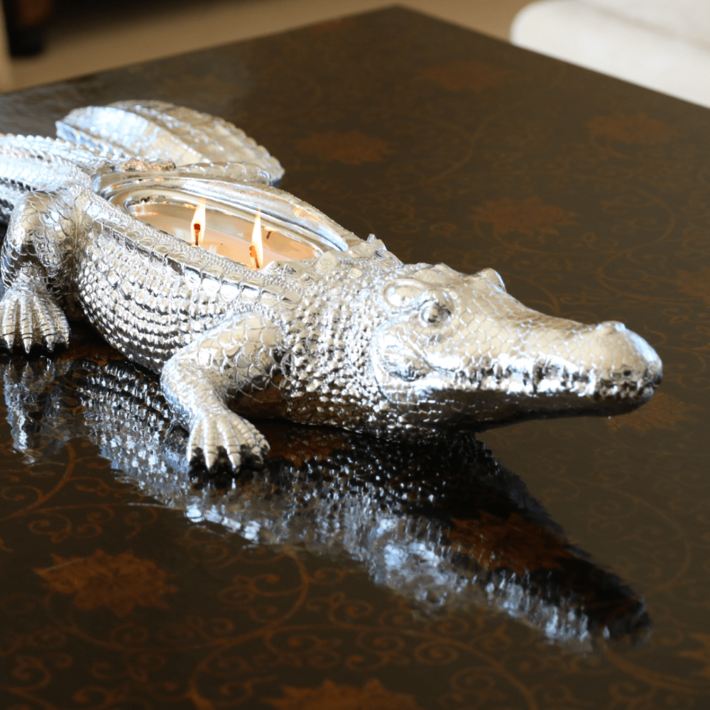 ceramic silver alligator lidded candle with white wax and 2 cotton wicks