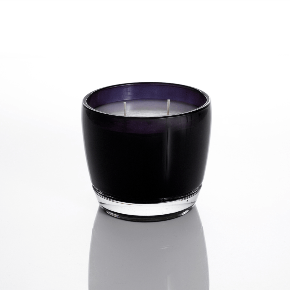 Round black glass scented candle with two wicks