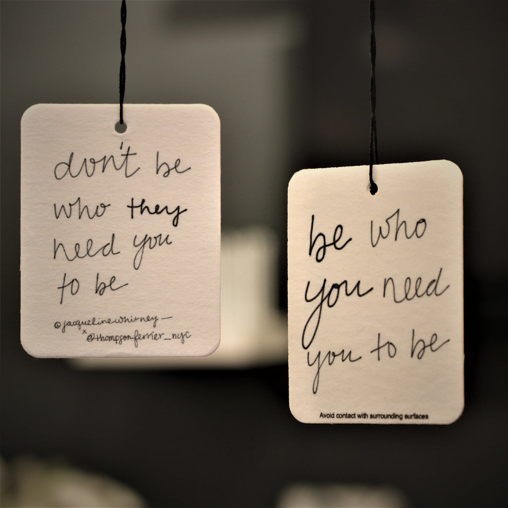 hanging air freshener with inspirational handwritten quote