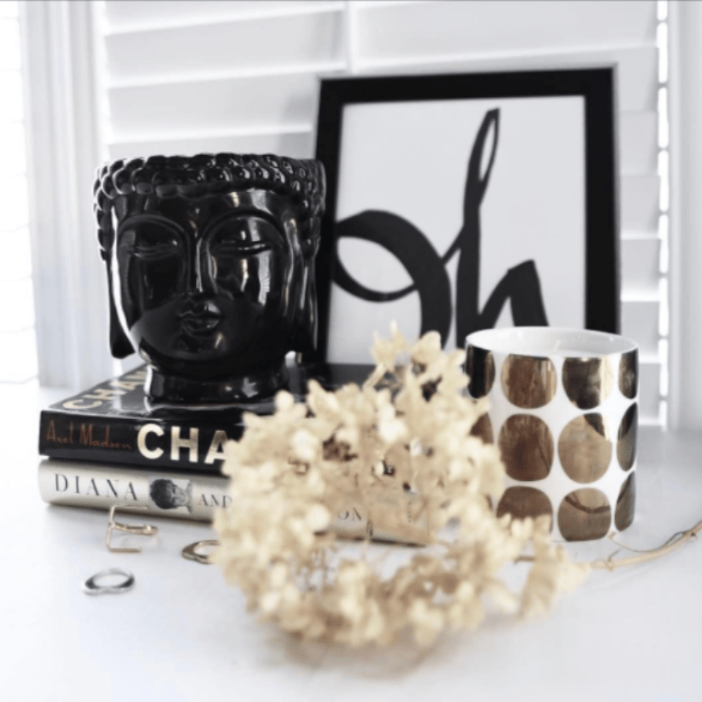 black ceramic buddha head candle
