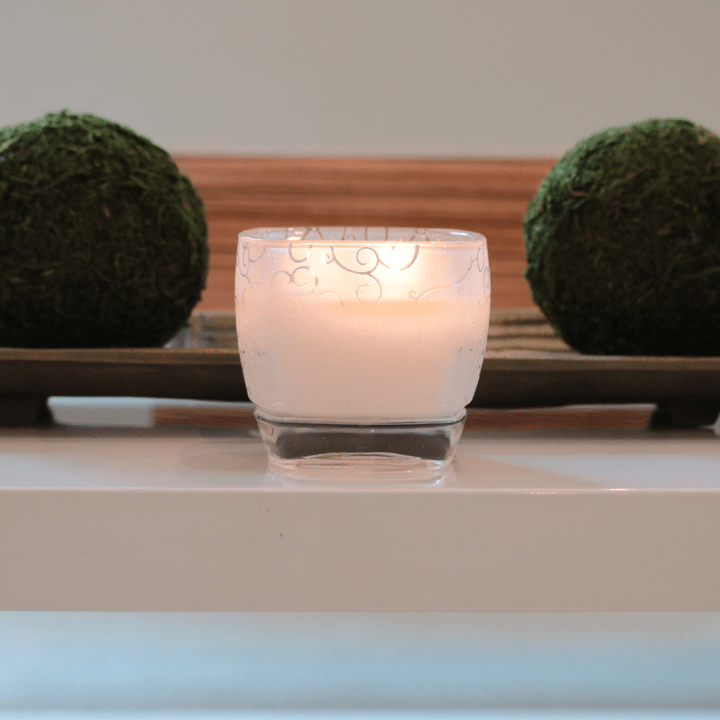 frosted glass vessel candle with engraved etching, white wax and two cotton wicks