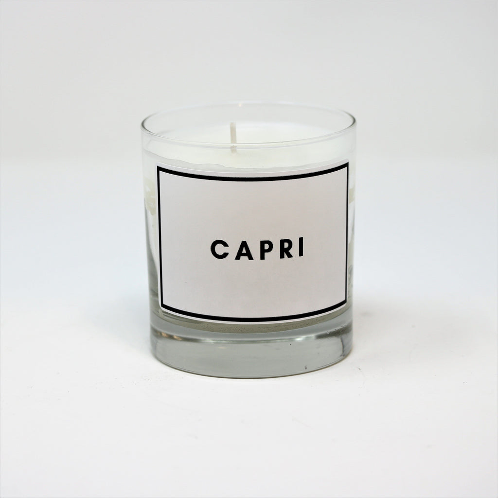 clear glass candle with a soy wax blend, essential oils and a single cotton wick