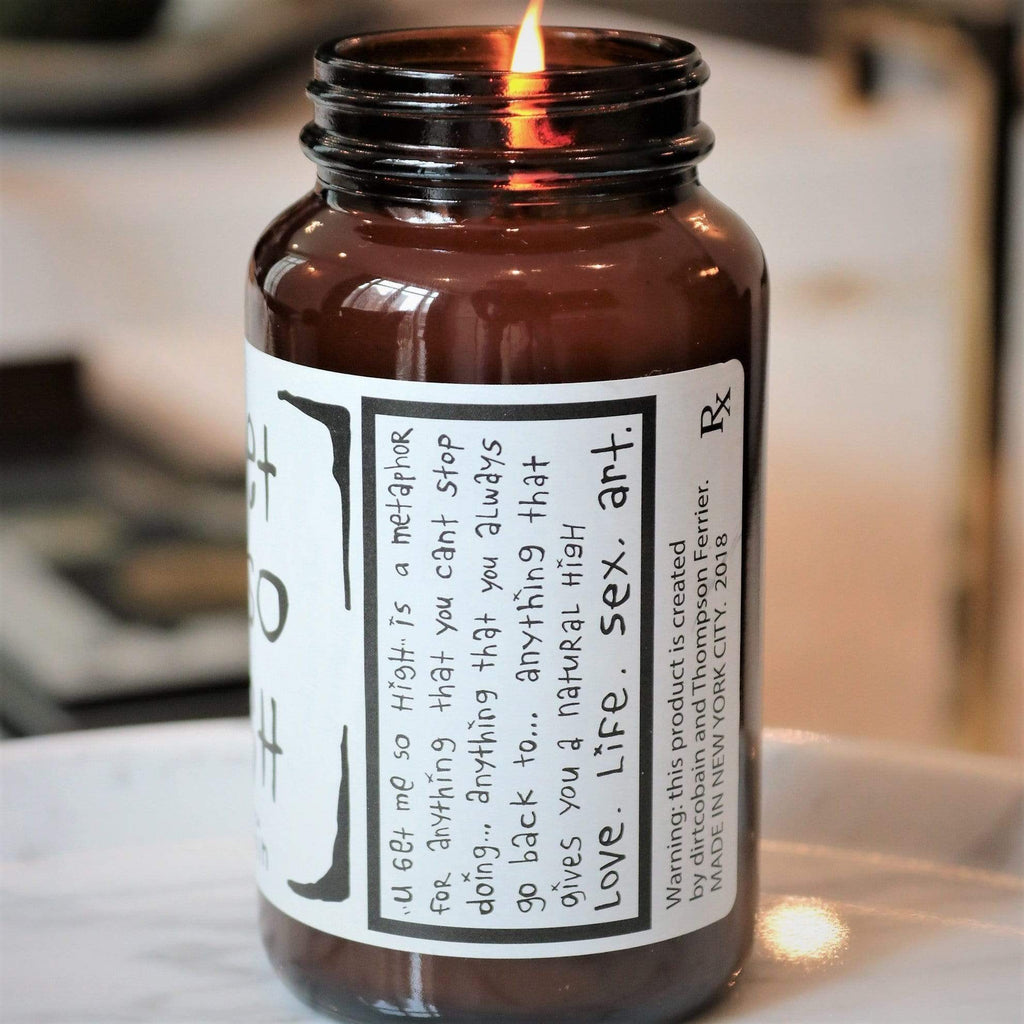 brown glass candle jar with white sticker, one wick and white soy blend wax