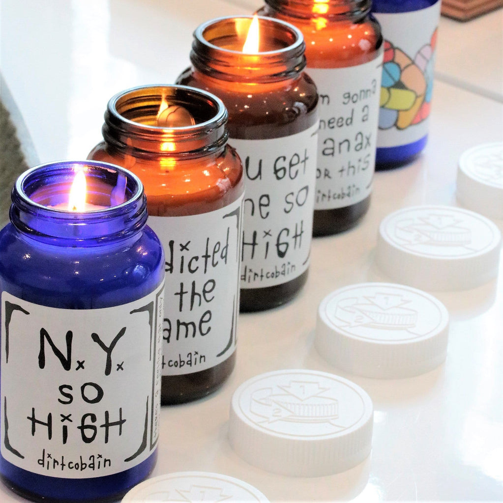 """ny so high"" pill bottle scented candle by Dirt Cobain and Thompson Ferrier"