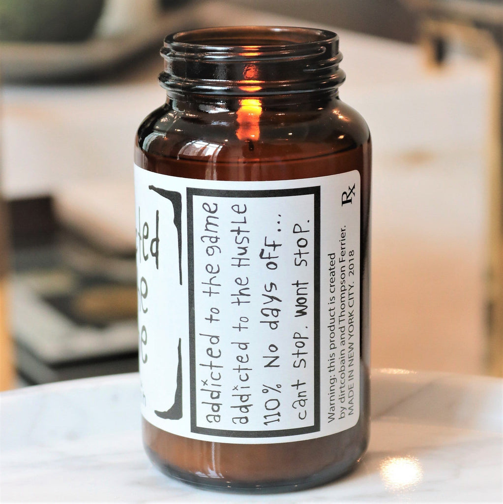"""addicted to the game"" pill bottle scented candle by Dirt Cobain and Thompson Ferrier"