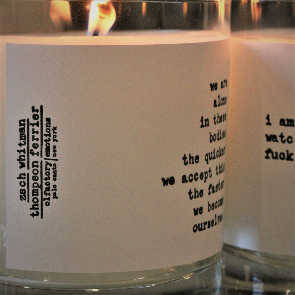 Zach Whitman's Luxury Ourselves Poetry Scented Candle