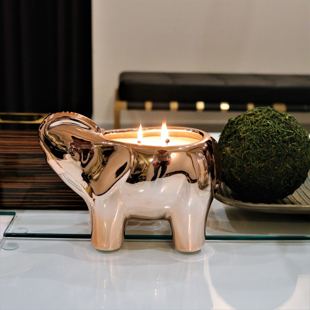 Thompson Ferrier rose gold elephant candle with 2 wicks