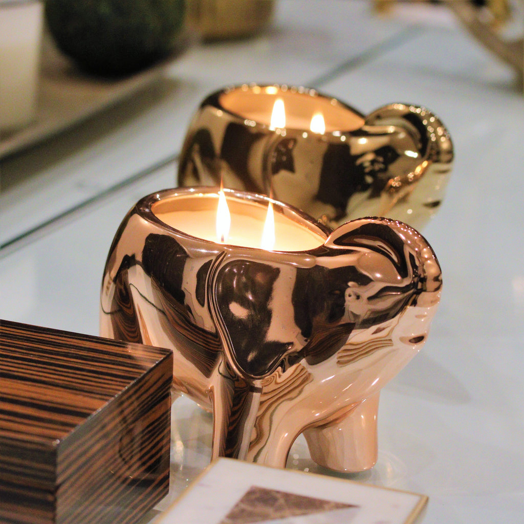 rose gold ceramic elephant candle