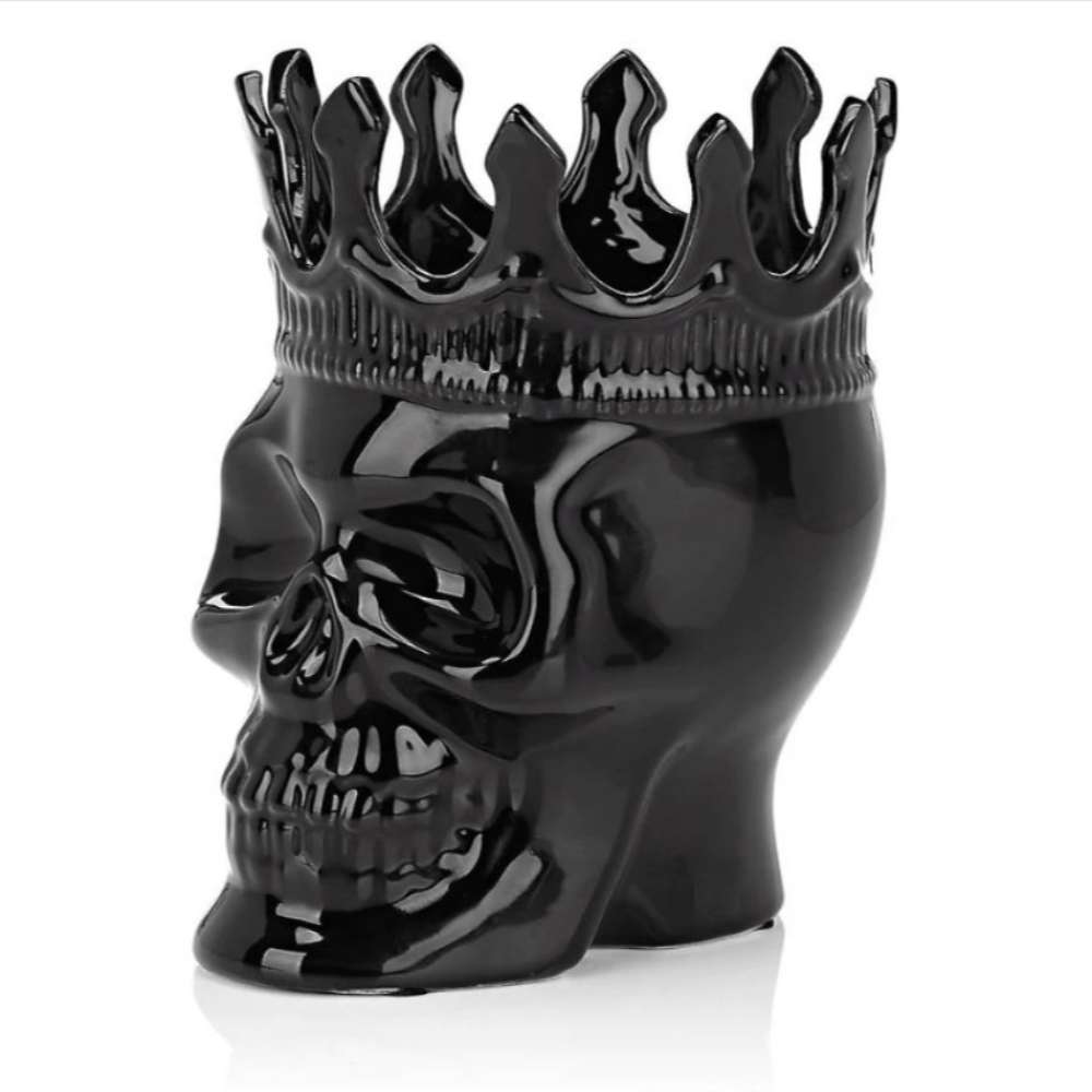 Thompson Ferrier black skull scented candle with crown