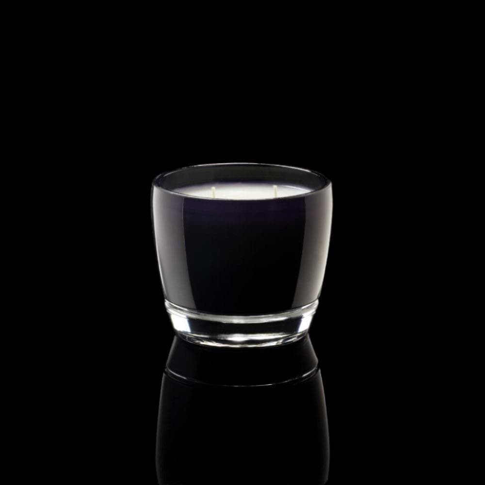 Thompson Ferrier black round glass candle with white wax and 2 wicks