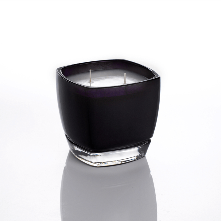 round square glass candle with white wax and 2 cotton wicks