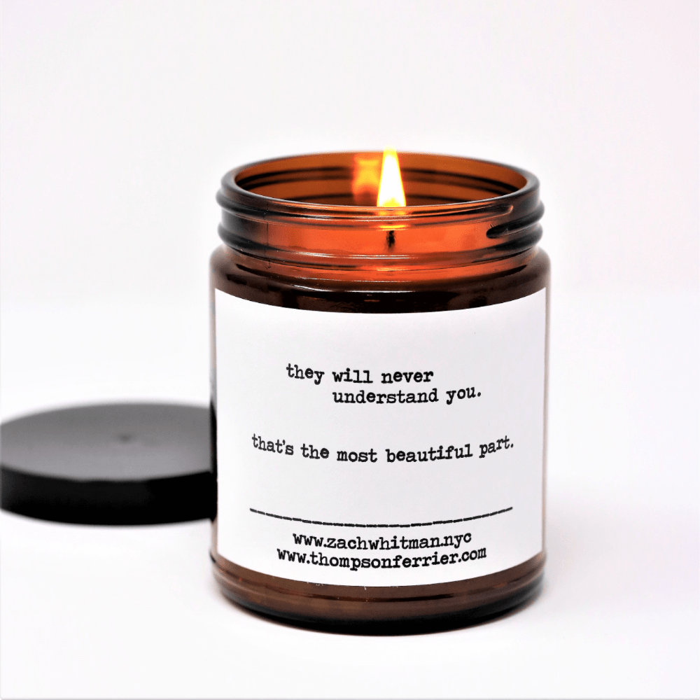 Our poetry candle collection is a collaboration with Thompson Ferrier and New York City poet and artist, Zach Whitman. Zach's work has been featured around the world and is now available to you in raw form in Palo Santo candle.