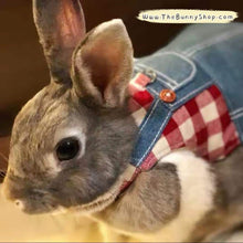 Load image into Gallery viewer, Handmade rabbit overalls, Bunny denim harness, Minions costume harness Harness Harness