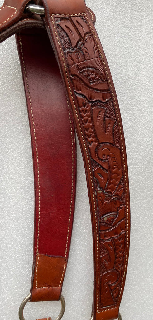 Buckaroo Hand Tooled Breastcollar - Medium Oil