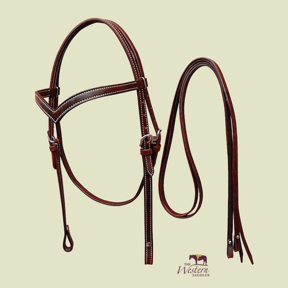 V-Shaped Browband Headstall Set with Reins