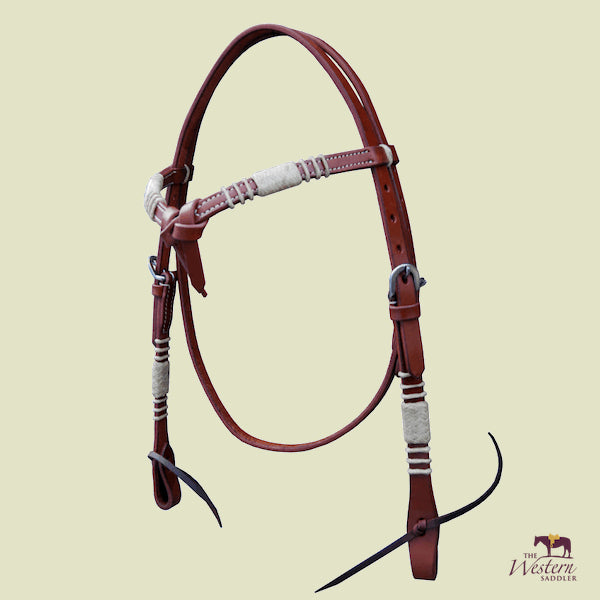 Browband Knotted Harness Headstall with Rawhide
