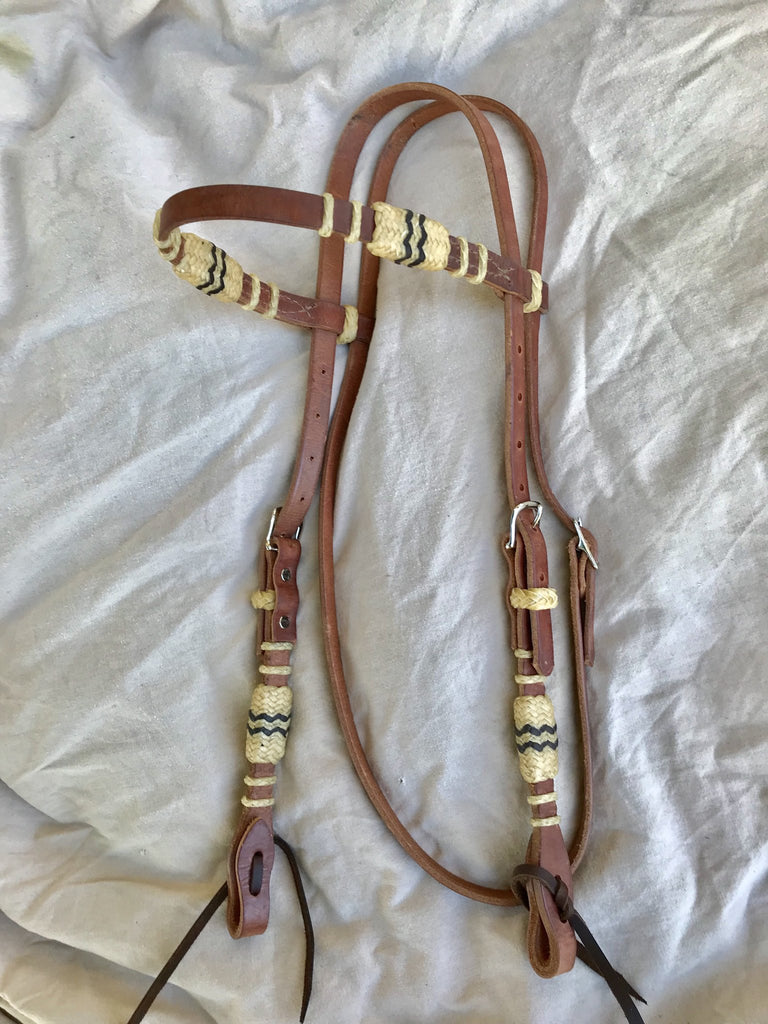 Buckaroo Headstall with Braiding and Rawhide in Harness Brown