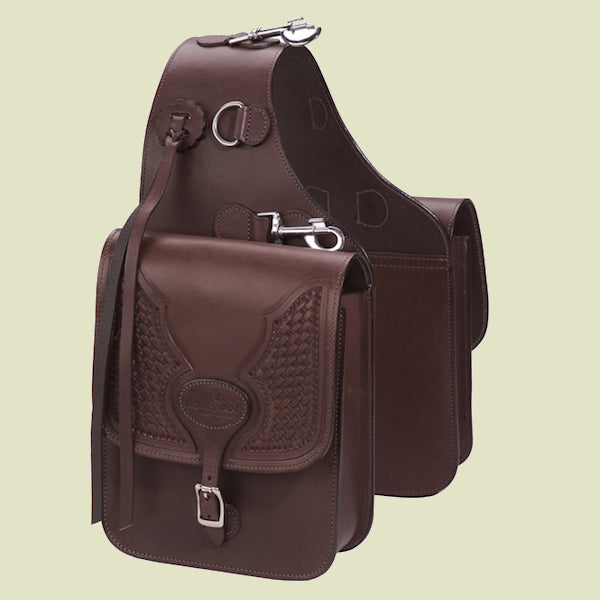 Barefoot Real Leather Saddle Bag with Tooling