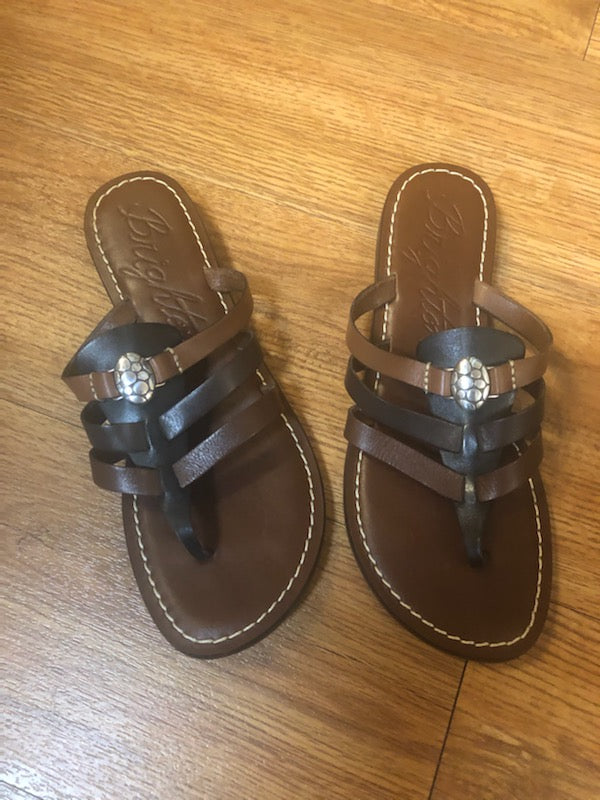 Brighton Black/Brown Flat Sandals, size 7