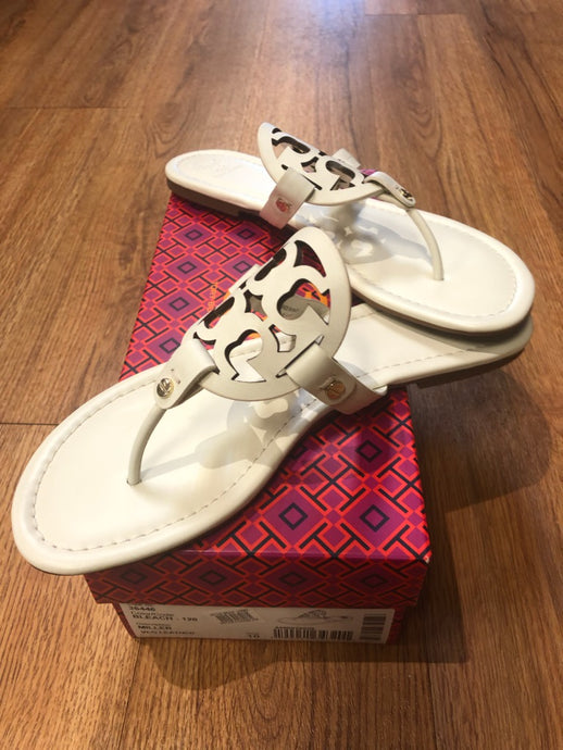 Tory Burch White Miller Sandals, Size 10