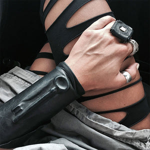 HIDDEN LEATHER CUFF WITH BIG HIDDEN KEY | zoraromanska.com | ZR Zora Romanska - Handmade Leather Jewelry