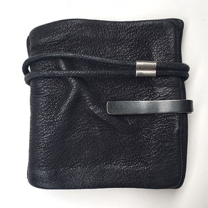 LEATHER WALLET WITH SILVER CLIP
