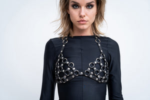 NET LEATHER BRA