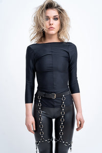 NET LEATHER BELTED GARTERS