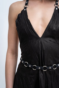 PINAFORE NET LEATHER DRESS