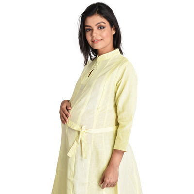 Mommy Cuddle Maternity Kurti Pure Cotton with 2 side Zippers for feeding, Both Pre and Post Pregnancy wear (XL Size)
