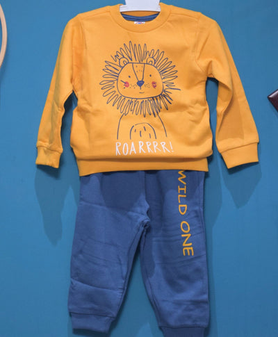 Full Sleeves Wooly Cot Suit With Full Pant-Lion Print- Unisex-100% Cotton