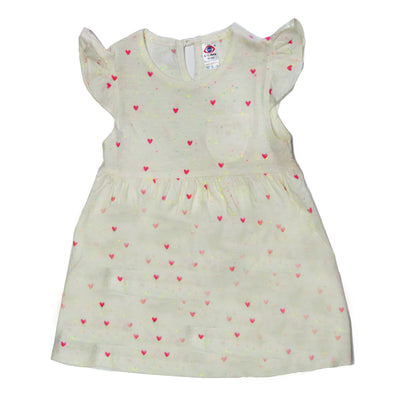 Frock with Cap Sleeves- White Print- 100% Cotton