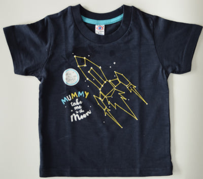 Half Sleeves T-Shirt- Mummy Take Me To The Moon- Unisex- 100% Cotton