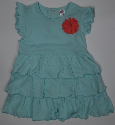 Frock with Cap Sleeves and Flower Applique- 100% Cotton