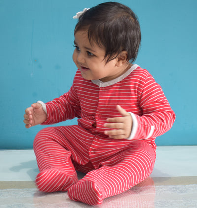 Full Sleeves Footed Rompers With Mittens- Horizontal Stripes- Red- Unisex
