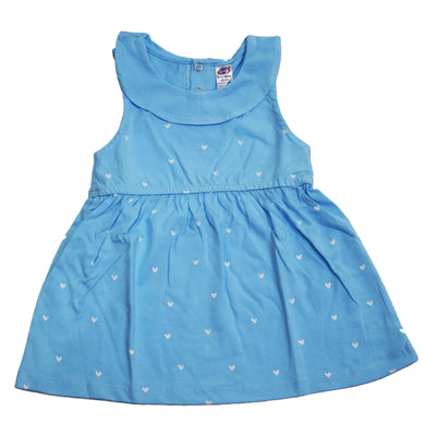 Sleeveless Frock Heart Design- Double Collar- 100% Cotton