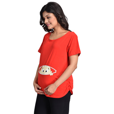 Maternity Top Free Size- Premium Cotton Spandex Fabric- Screen printed bump baby- Expands as per requirement- Free Size