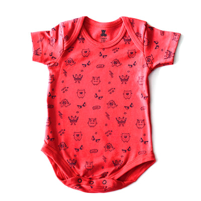 Half Sleeves Onesies- Little Monster Figures- Red- Unisex