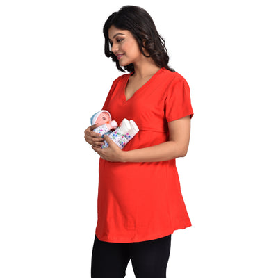 Mommy Cuddle Nursing Tank Tops for Breastfeeding with discreet Horizontal Zipper- Cotton Spandex Fabric- Both Pre & Post Pregnancy Wear- Free Size